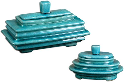 Uttermost Accessories Indra Bright Blue Boxes, Set of  2