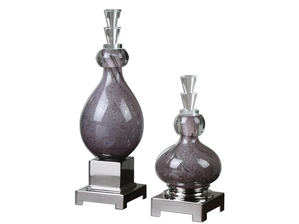 Uttermost Accessories - Statues and FigurinesCharoite Purple Glass Bottles, Set of  2
