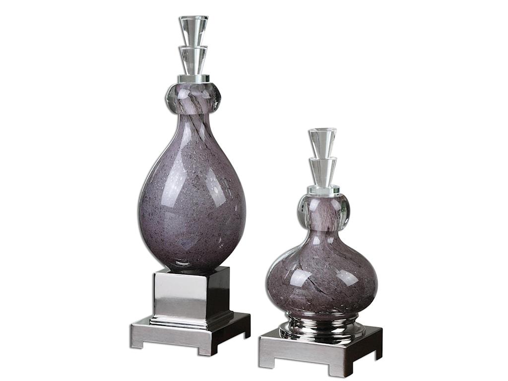 Uttermost AccessoriesCharoite Purple Glass Bottles, Set of  2