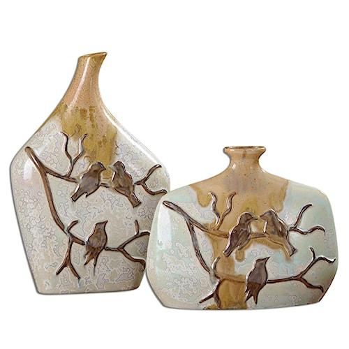 Uttermost Accessories Pajaro Ceramic Vases, Set of  2