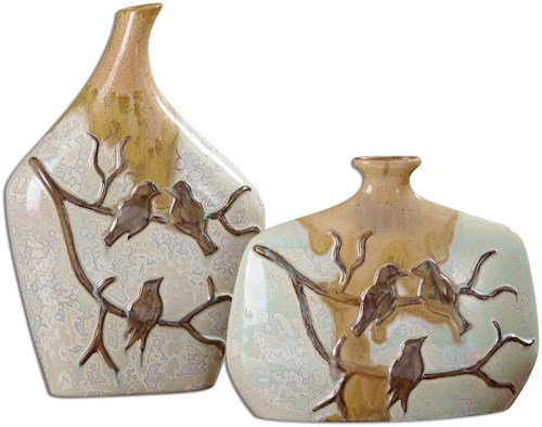Uttermost Accessories Pajaro Ceramic Vases, Set of  2
