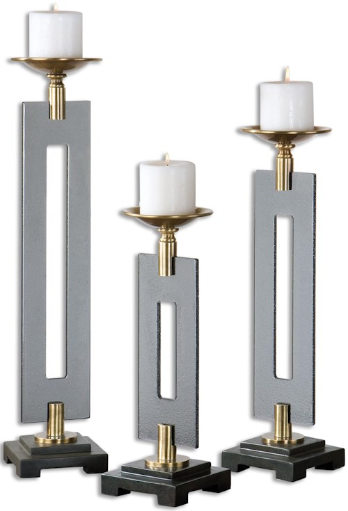Uttermost Accessories Everly Bronze Candleholders S/3