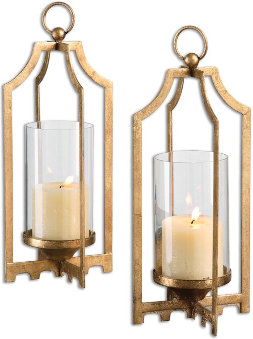 Uttermost Accessories Lucy Gold Candleholders S/2