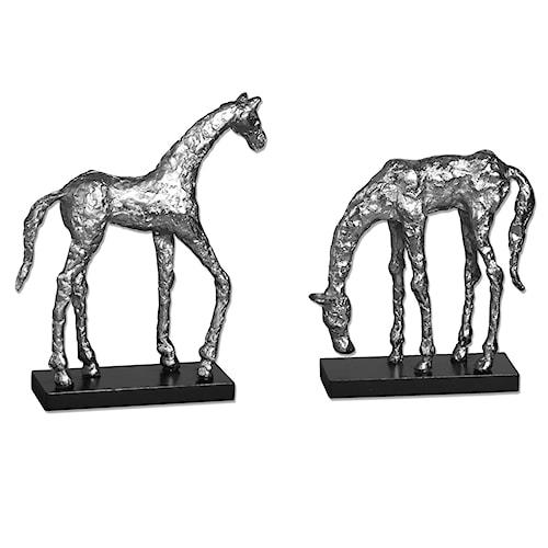 Uttermost Accessories Let's Graze Horse Statues, S/2