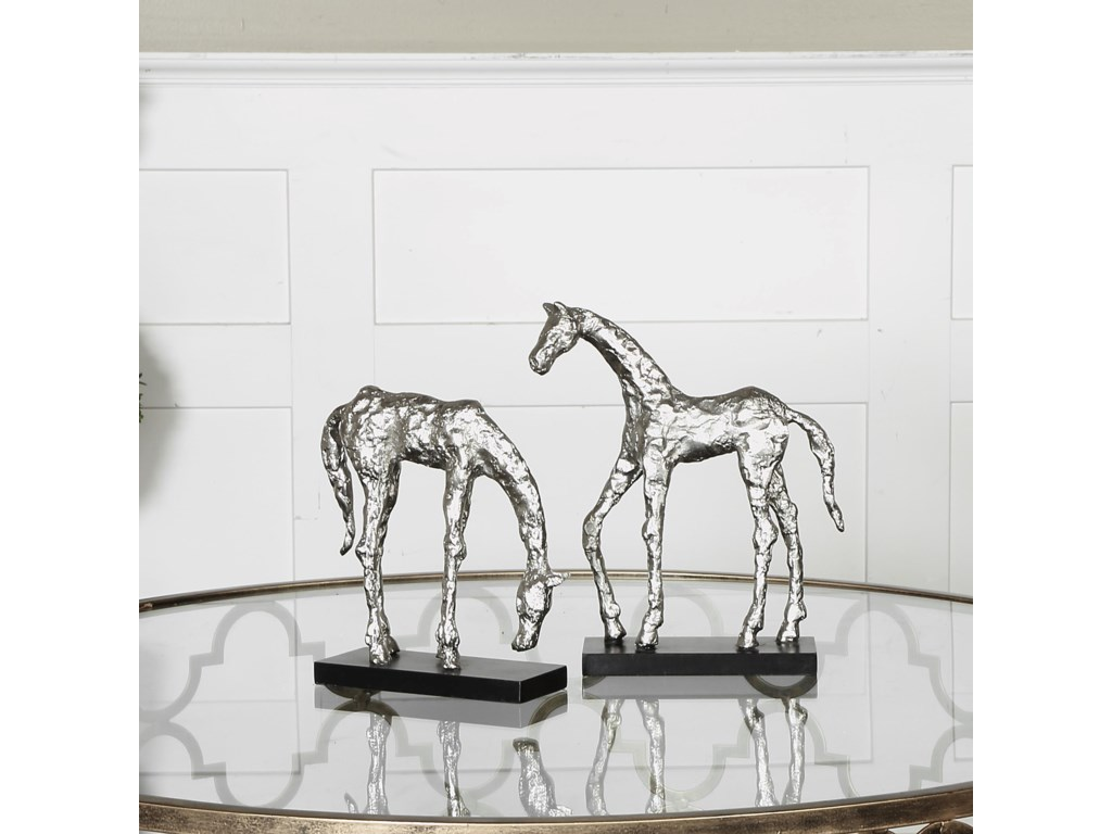Uttermost Accessories - Statues and FigurinesLet's Graze Horse Statues, S/2