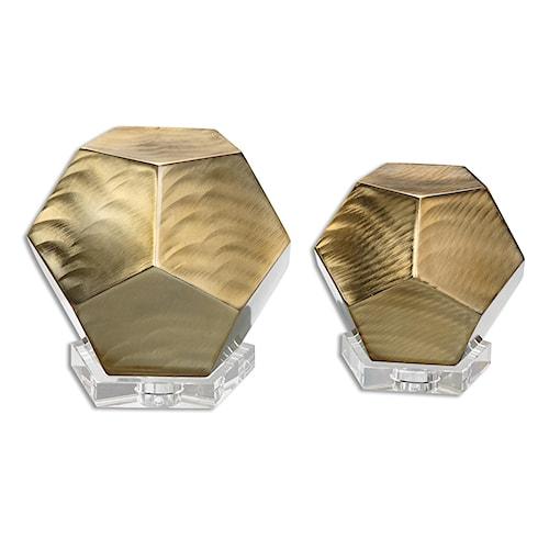 Uttermost Accessories Pentagon Coffee Bronze Cubes S/2