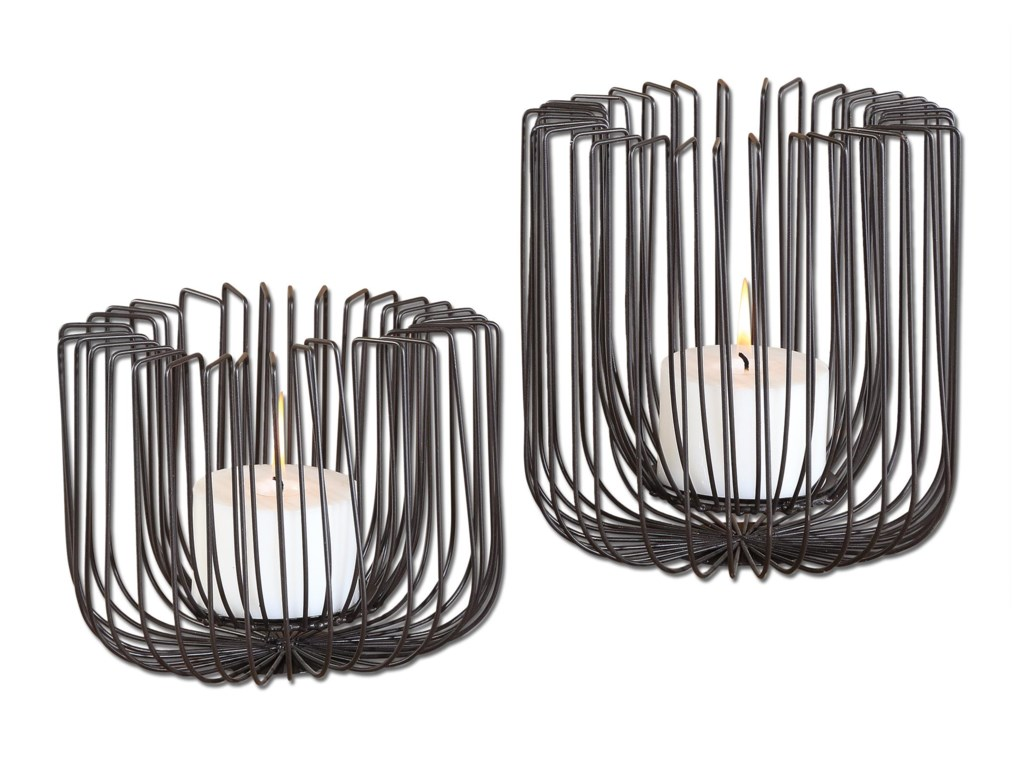 Uttermost AccessoriesFlare Black Wire Candleholders S/2