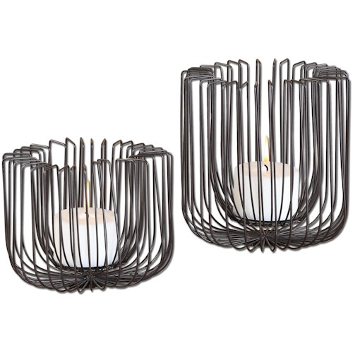 Uttermost Accessories Flare Black Wire Candleholders S/2