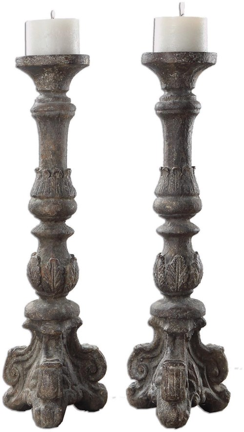 Uttermost Accessories Bogdan Antique Candleholders, S/2