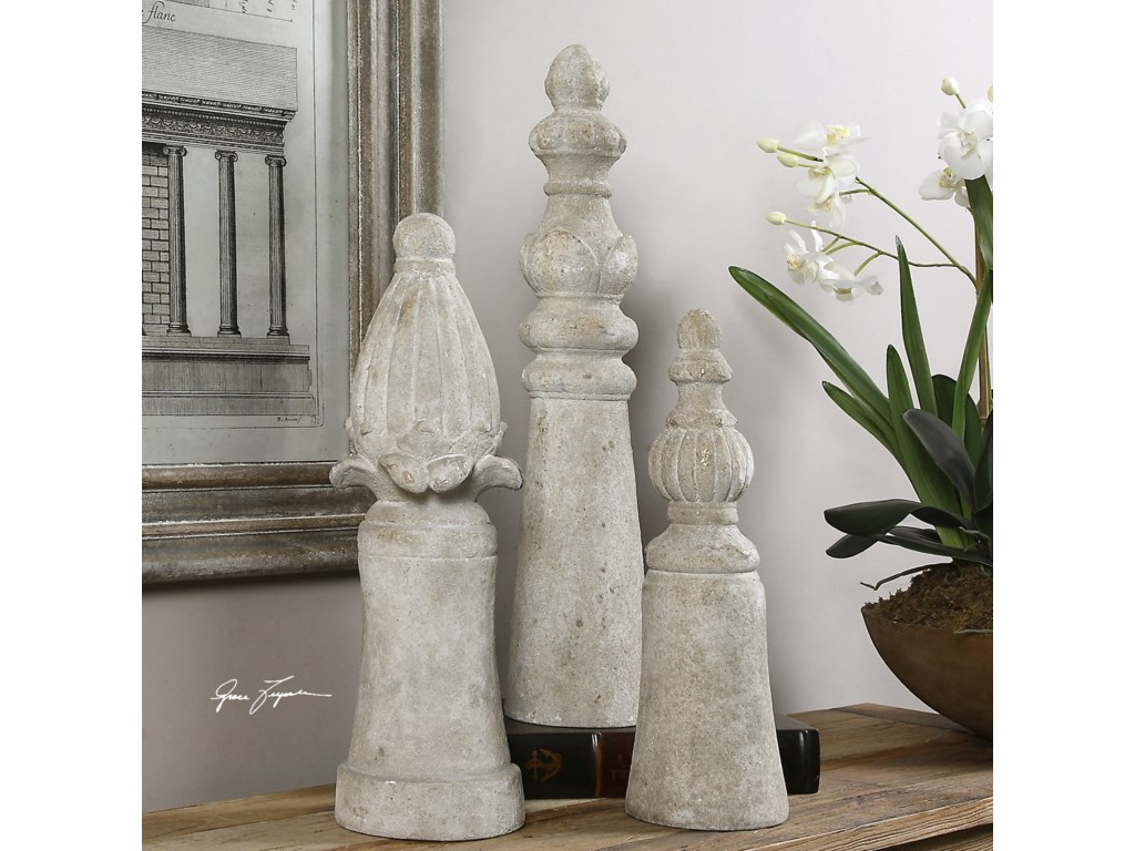 Uttermost Accessories - Statues and FigurinesAsmund Aged Ivory Finials S/3