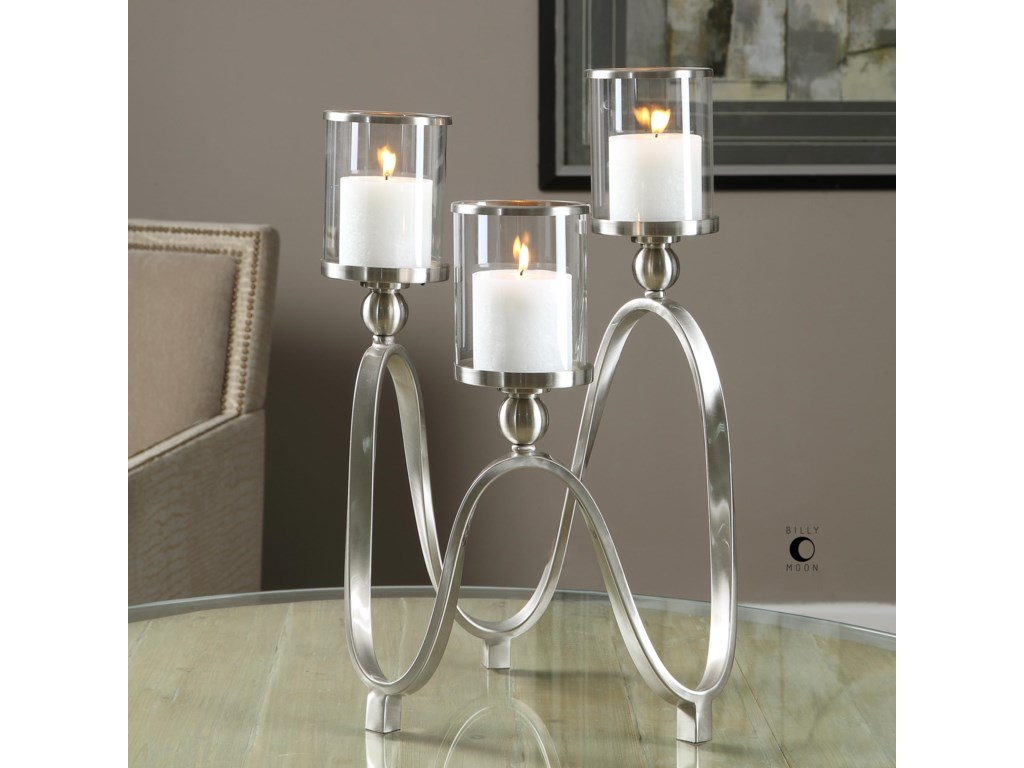 Uttermost Accessories - Candle HoldersAkiro Modern Nickel Candelabra