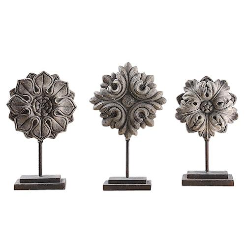 Uttermost Accessories Alarik Aged Ivory Florals, S/3