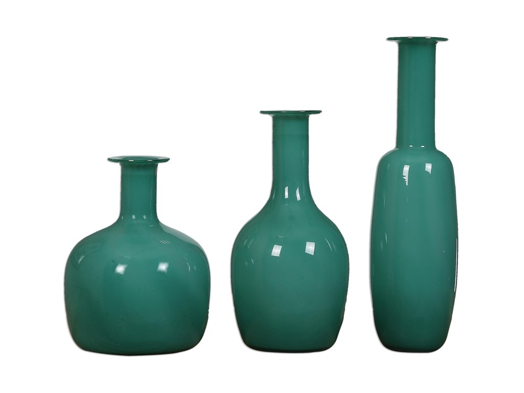 Uttermost Accessories - Vases and UrnsBaram Turquoise Vases, S/3