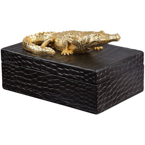 Uttermost Accessories Gold Crocodile Box