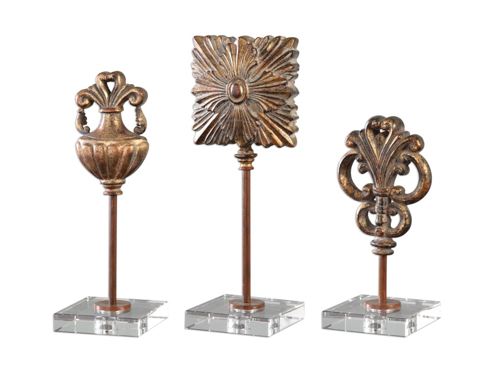 Uttermost Accessories - Statues and FigurinesCesare Gold Accessories, S/3
