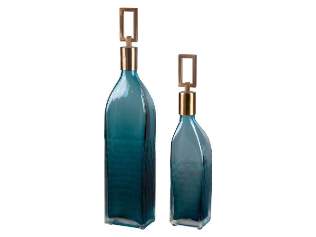 Uttermost AccessoriesAnnabella Teal Glass Bottles, S/2