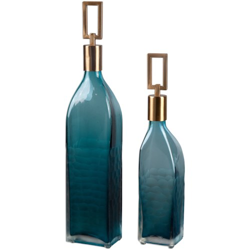 Uttermost Accessories Annabella Teal Glass Bottles, S/2