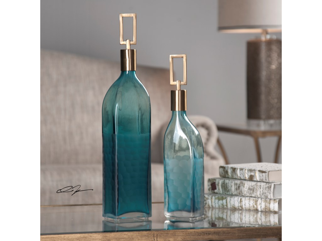 Uttermost Accessories - Vases and UrnsAnnabella Teal Glass Bottles, S/2