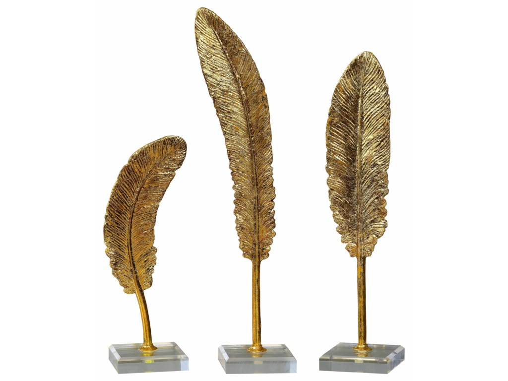 Uttermost Accessories - Statues and FigurinesFeathers Gold Sculpture S/3