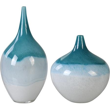 Carla Teal White Vases, S/2