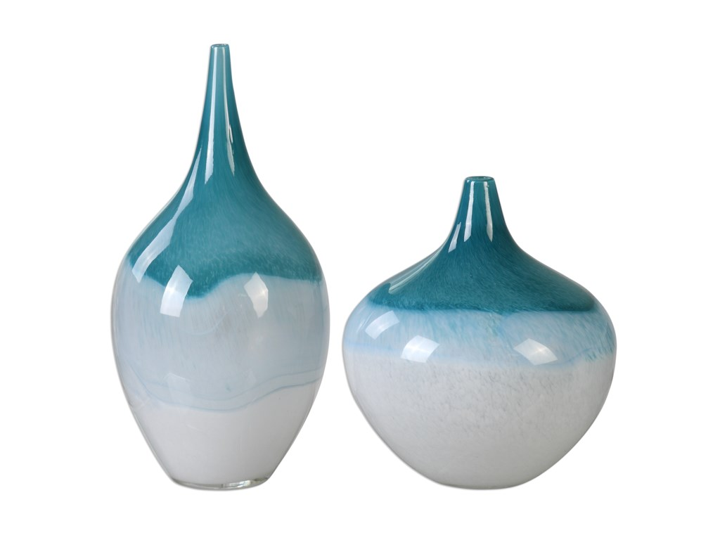 Uttermost Accessories - Vases and UrnsCarla Teal White Vases, S/2