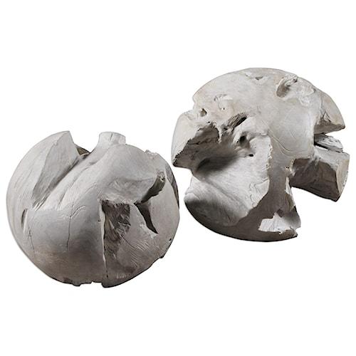 Uttermost Accessories Ermanno Teak Balls (Set of 2)