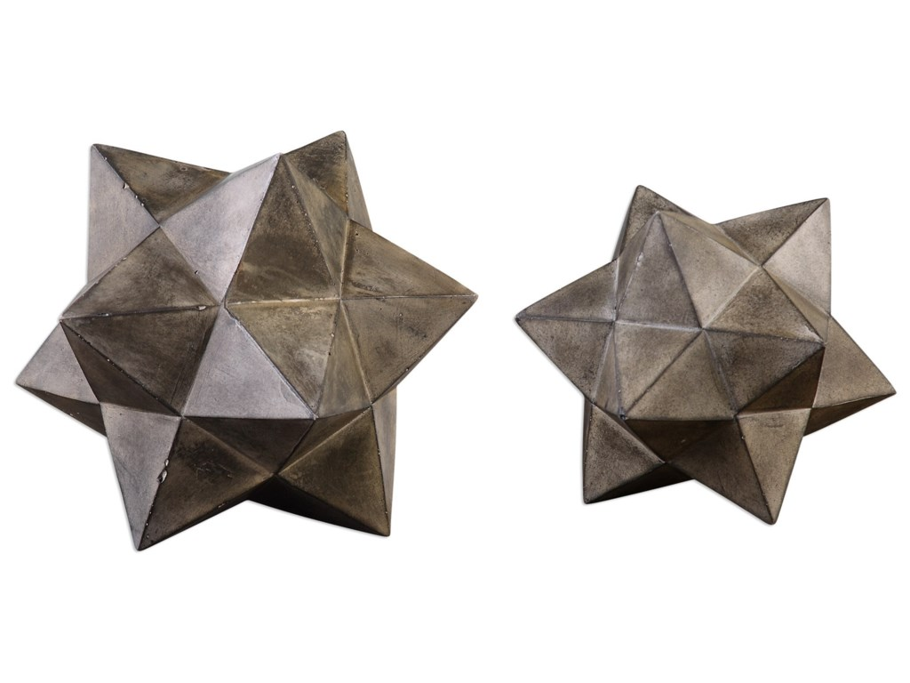Uttermost Accessories - Statues and FigurinesGeometric Stars Concrete Sculpture Set/2