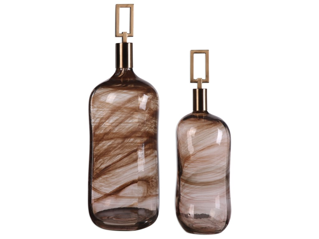 Uttermost Accessories - Vases and UrnsGinevra Bottles (Set of 2)