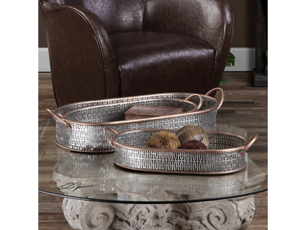 Uttermost Accessories Fabiana Antiqued Silver Trays (Set of 3)