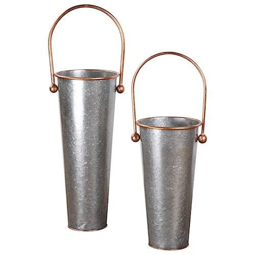 Uttermost Accessories  Ortensia Galvanized Flower Buckets (Set of 2)