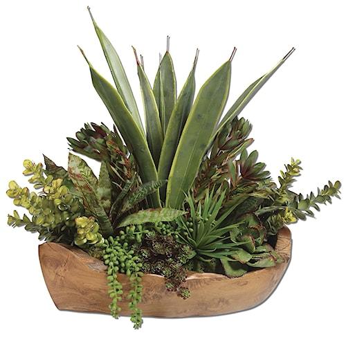Uttermost Accessories Salar Succulents In Teak Bowl