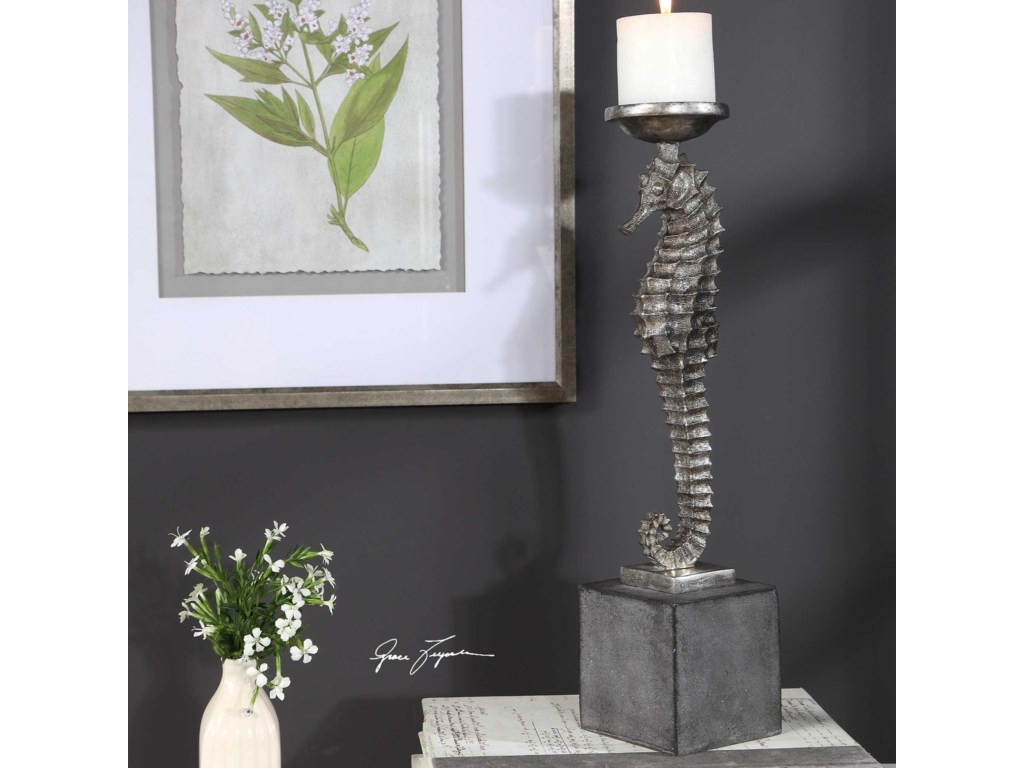 Uttermost Accessories - Candle HoldersSeahorse Silver Candleholder