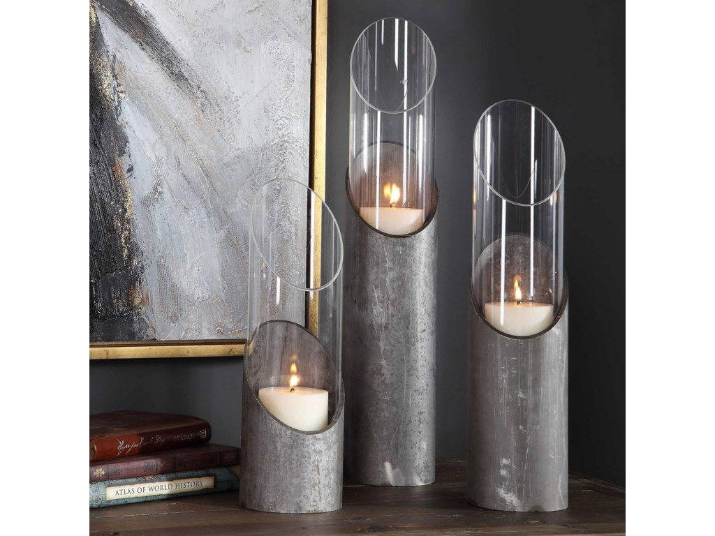 Uttermost Accessories - Candle HoldersKarter Iron & Glass Candleholders (Set of 3)