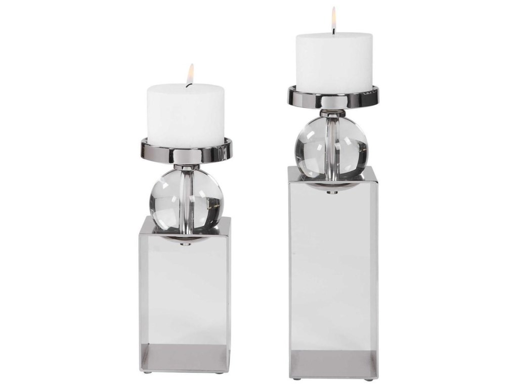 Uttermost Accessories - Candle HoldersLucian Nickel Candleholders, Set/2