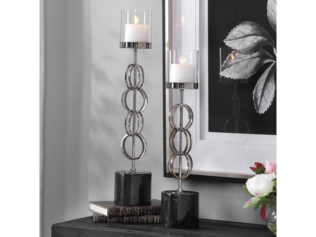 Uttermost Accessories - Candle HoldersEsme Nickel Rings Candleholders, Set/2