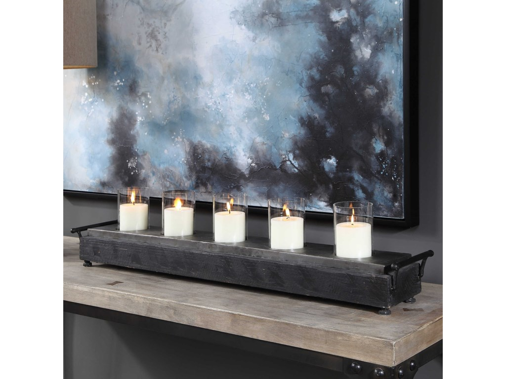 Uttermost Accessories - Candle HoldersCordaro Charcoal Wood Candleholder