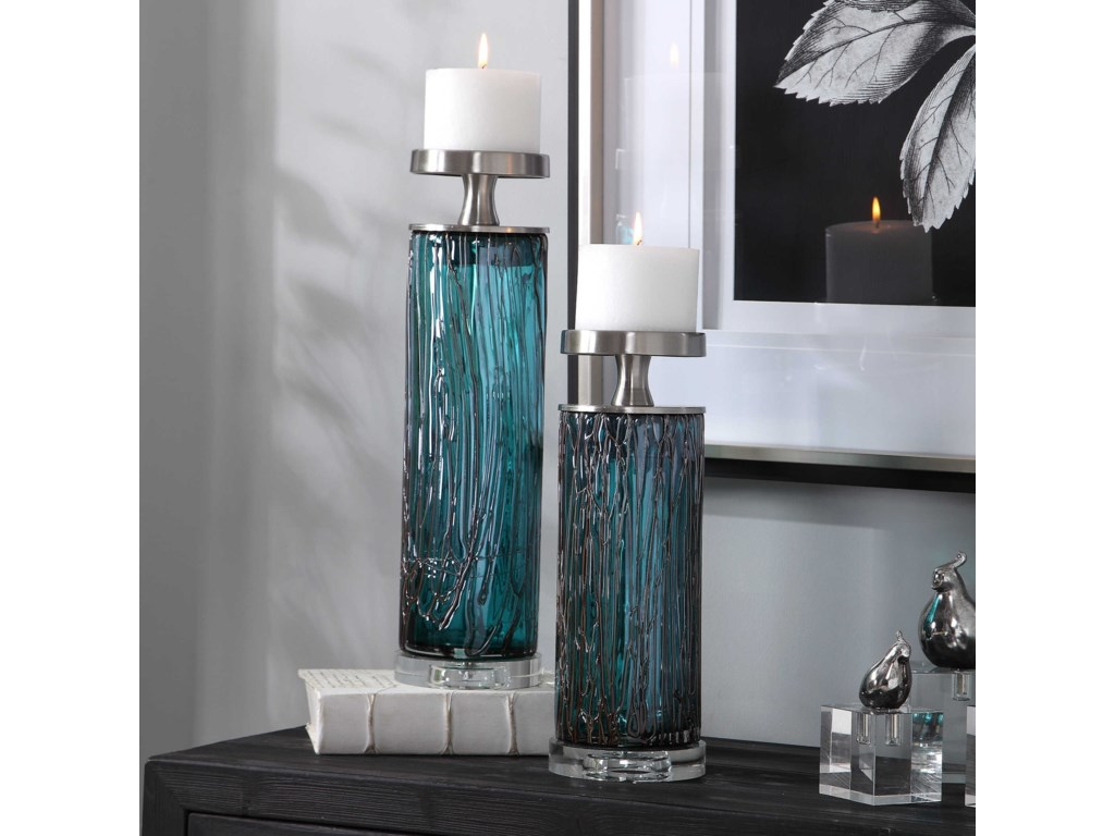 Uttermost Accessories - Candle HoldersAlmanzora Teal Glass Candleholders, S/2
