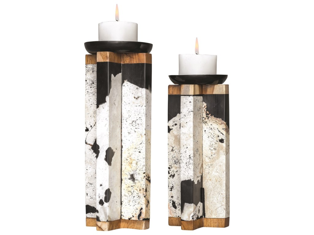 Uttermost Accessories - Candle HoldersIllini Stone Candleholders, S/2