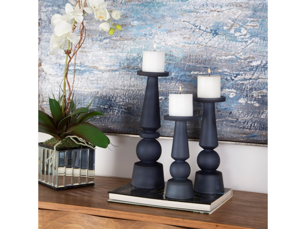 Uttermost Accessories - Candle HoldersCassiopeia Blue Glass Candleholder