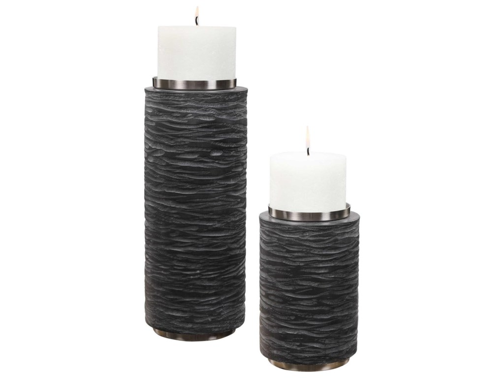 Uttermost Accessories - Candle HoldersStone Gray Candleholders, S/2