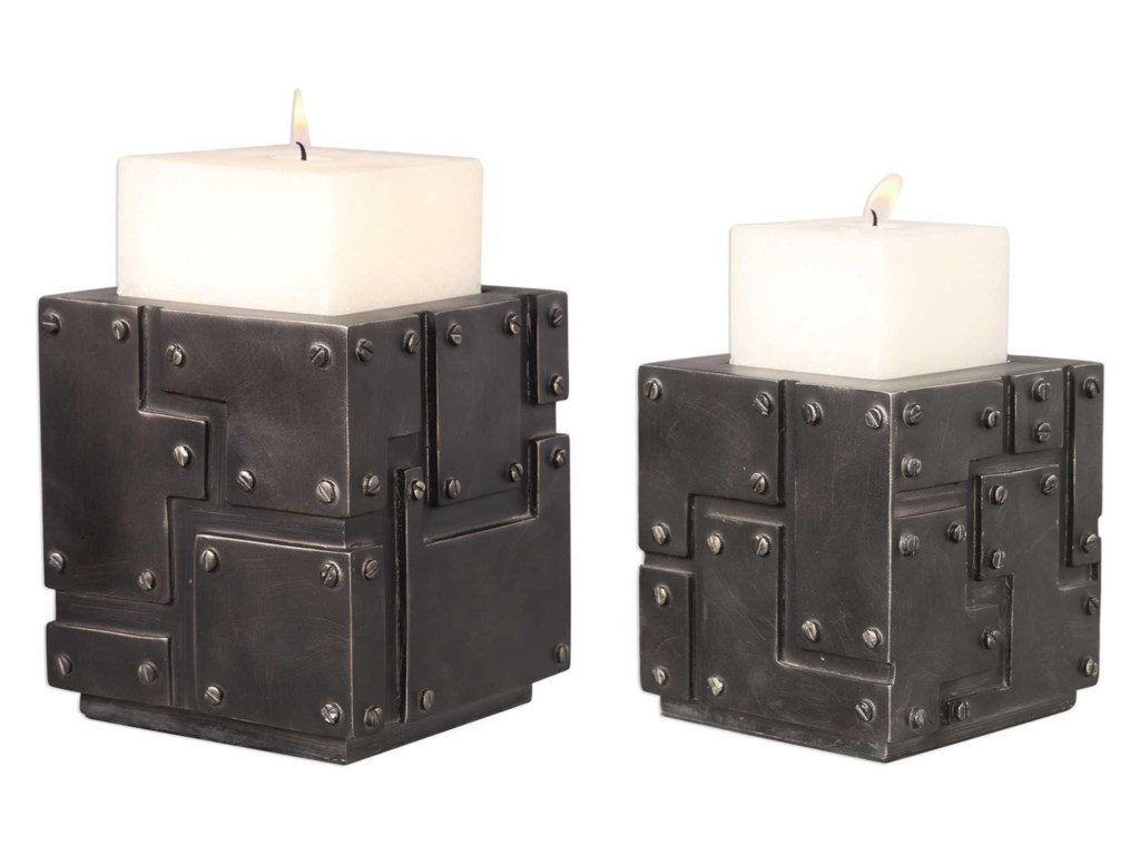 Uttermost Accessories - Candle HoldersMalak Metal Block Candleholders (Set of 2)