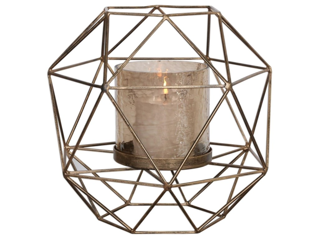 Uttermost Accessories - Candle HoldersMyah Geometric Gold Candleholder