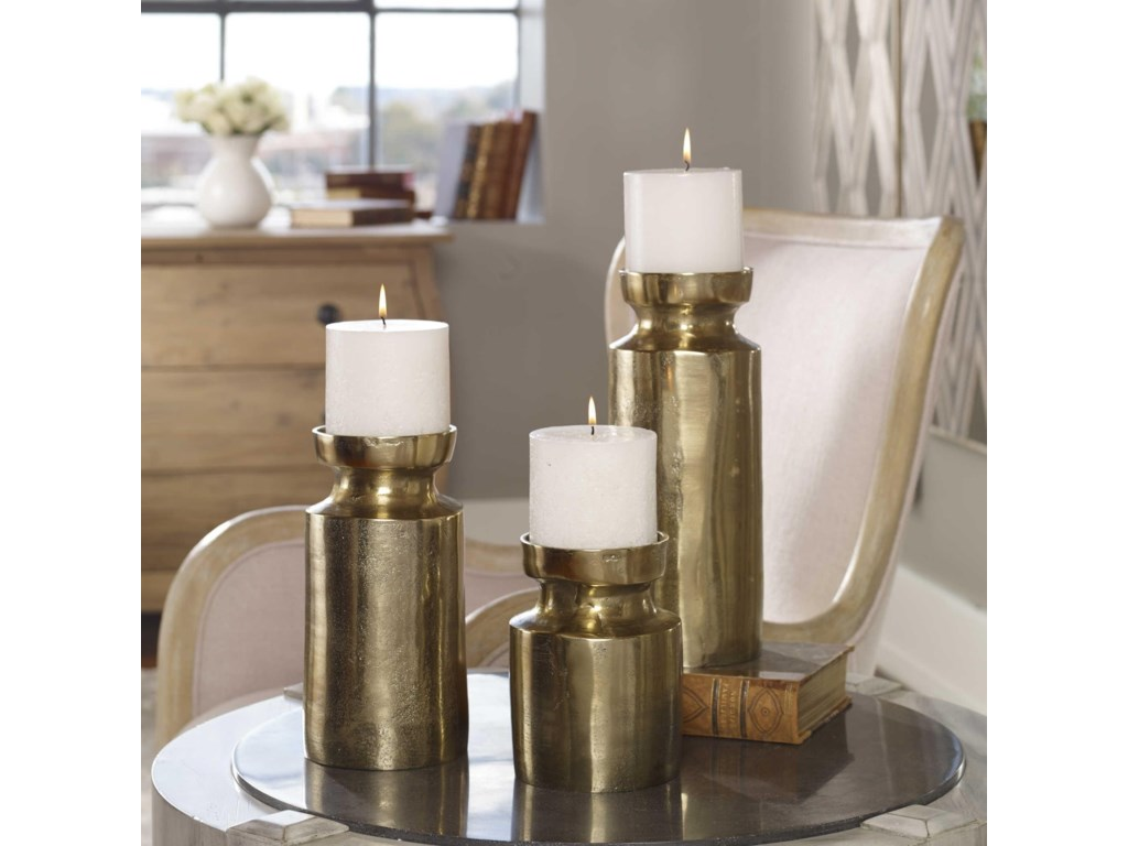 Uttermost Accessories - Candle HoldersAmina Antique Brass Candleholders (Set of 3)