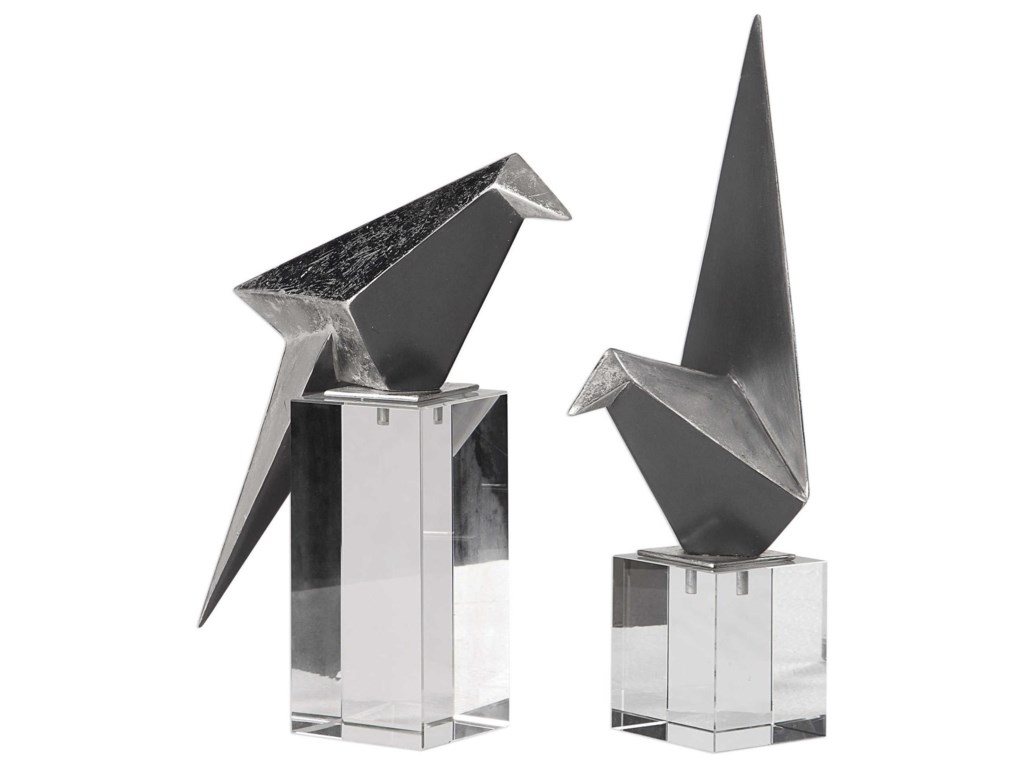 Uttermost Accessories - Statues and FigurinesOrigami Bird Figurines Set/2