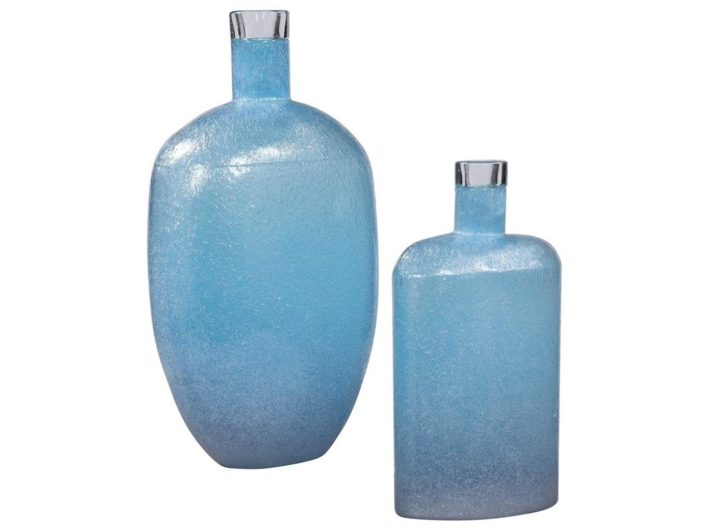 Uttermost Accessories - Vases and UrnsSuvi Blue Glass Vases, Set/2