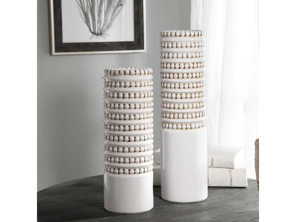 Uttermost Accessories - Vases and UrnsAngelou White Vases, Set/2