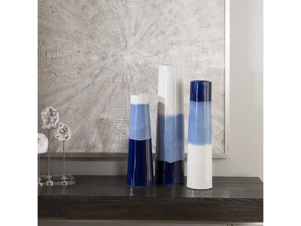 Uttermost Accessories - Vases and UrnsSconset White & Blue Vases, S/3