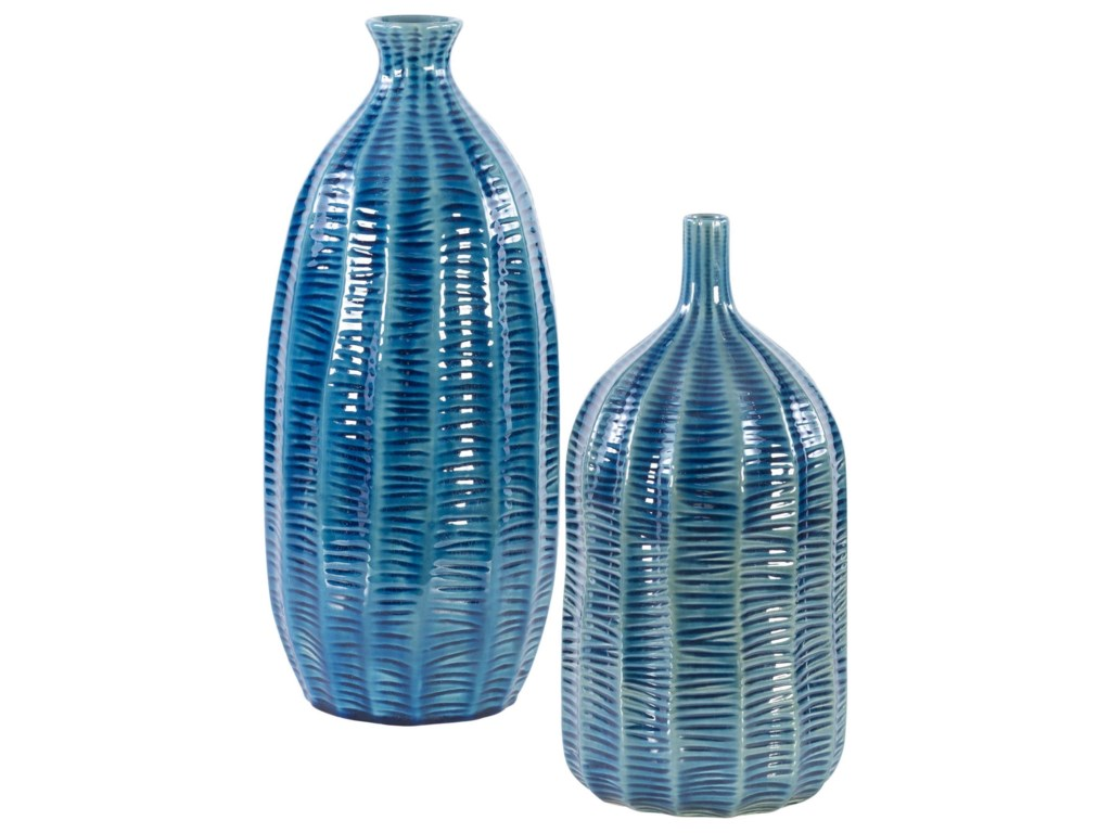 Uttermost Accessories - Vases and UrnsBixby Blue Vases, S/2
