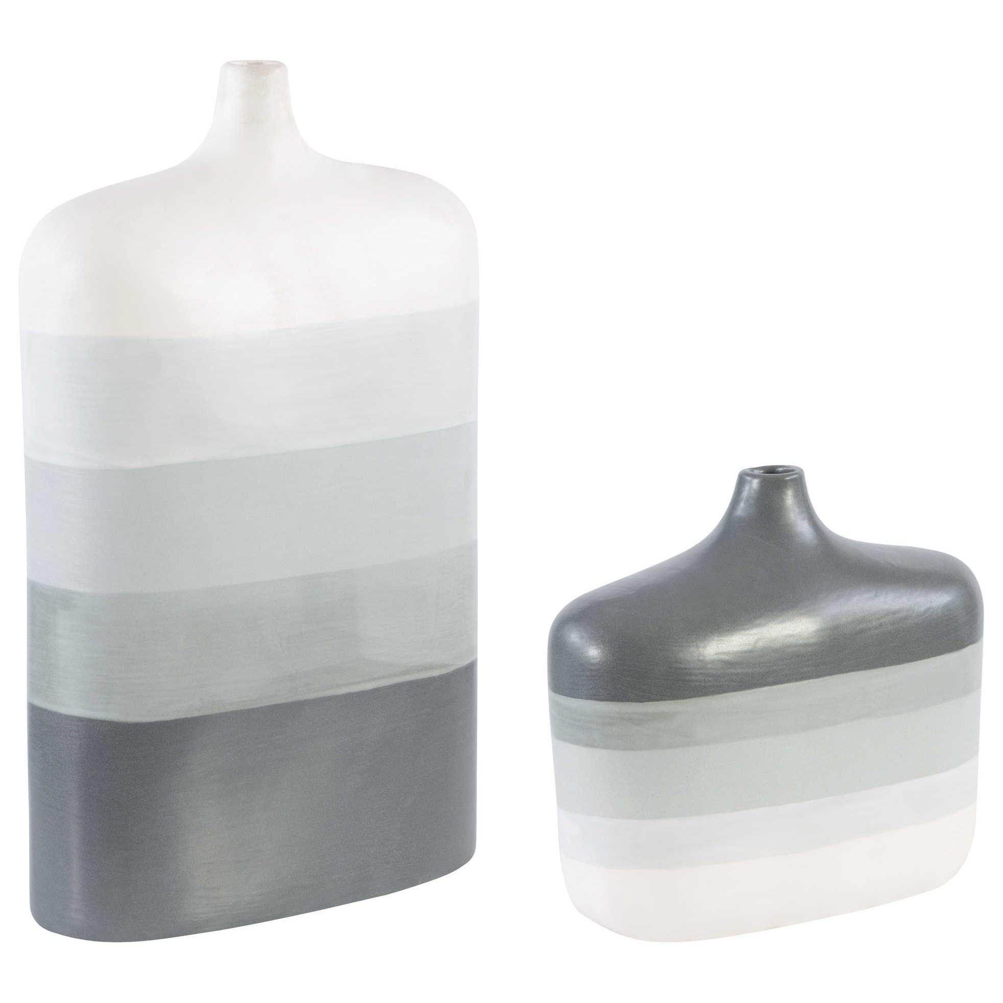 Guevara Striped Gray Vases, Set of 2