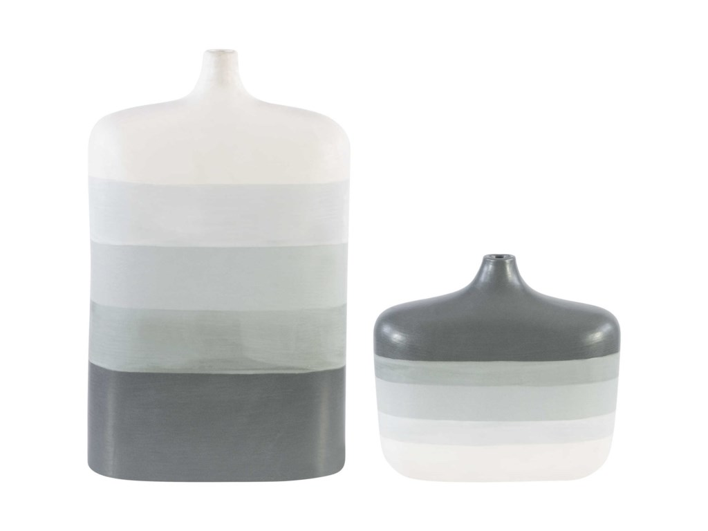 Uttermost Accessories - Vases and UrnsGuevara Striped Gray Vases, S/2